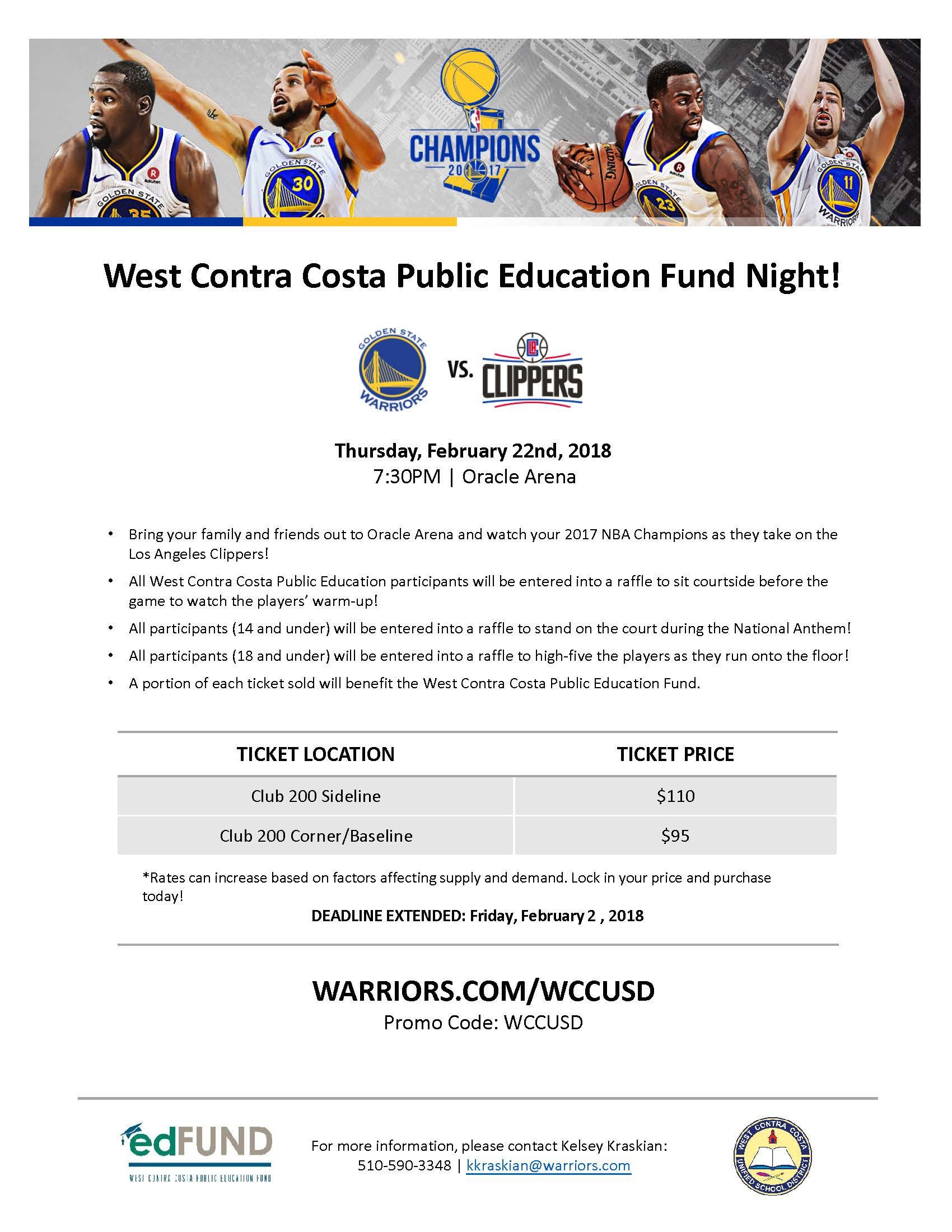 Updated WCCUSD Warriors night flyer