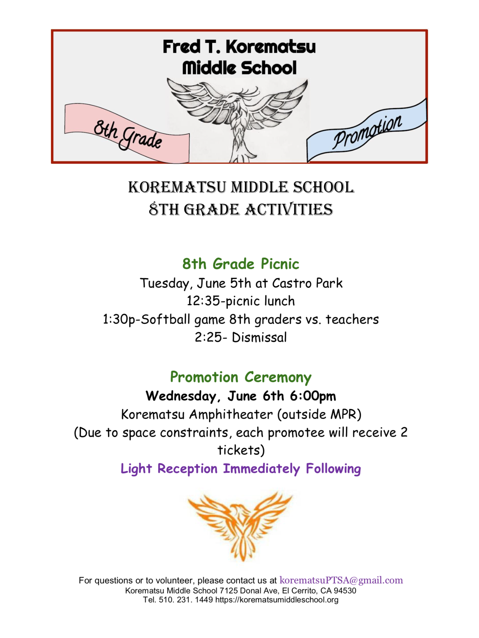 8th Grade Promotion Activities 2018