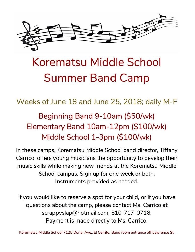 KOREMATSU MIDDLE SCHOOL SUMMER BAND CAMP